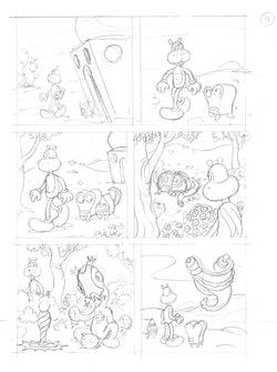Penciled unused FRANK page ready-to-ink.