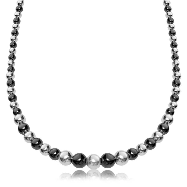 Sterling Silver Rhodium and Ruthenium Plated Graduated Polished Bead Necklace - thiajewelry.com