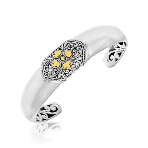 18K Yellow Gold & Sterling Silver Open Cuff with a Baroque Style Accent - thiajewelry.com