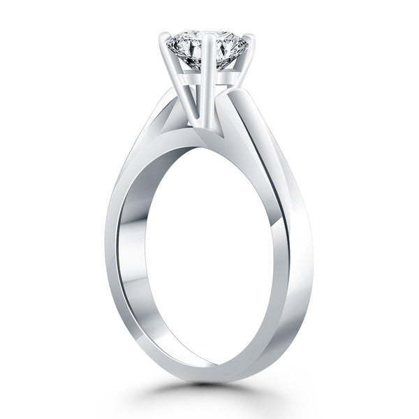 14K White Gold Wide Cathedral Solitaire Engagement Ring - thiajewelry.com
