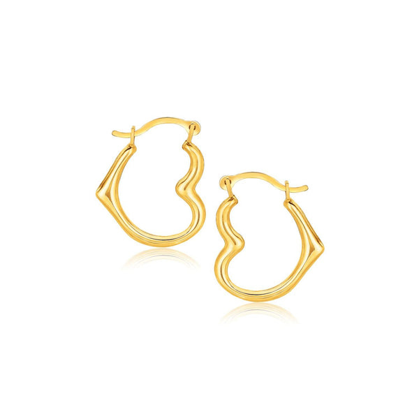 10K Yellow Gold Heart Hoop Earrings - thiajewelry.com