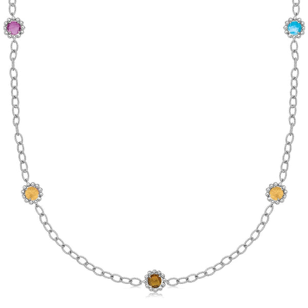 "18K Yellow Gold and Sterling Silver 17"" Chain Necklace With Multi Gemstones - thiajewelry.com"