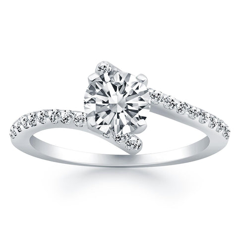 14K White Gold Open Shank Bypass Diamond Engagement Ring - thiajewelry.com