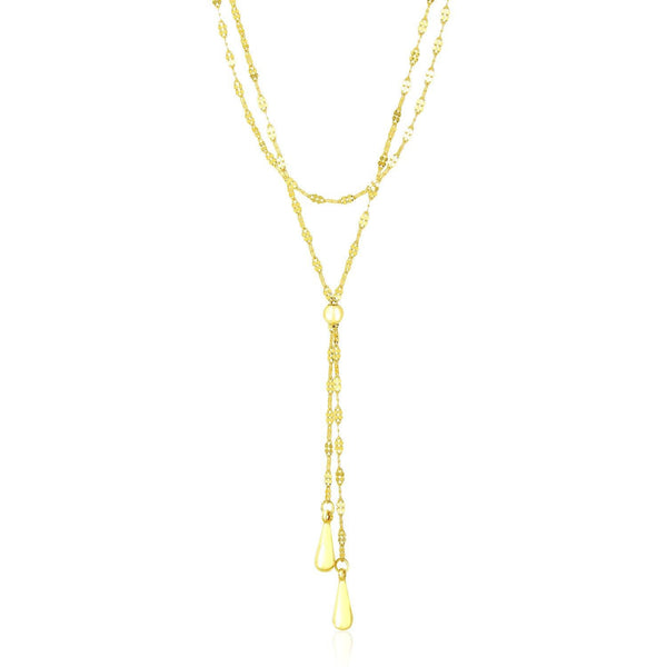 14K Yellow Gold Double Strand Chain with Puffed Heart Lariat Necklace - thiajewelry.com