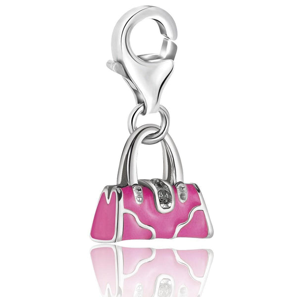 Sterling Silver Pink Enameled Handbag Charm with Crystal Lock Detailing - thiajewelry.com