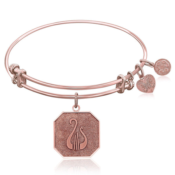 Expandable Bangle in Pink Tone Brass with Alpha Chi Omega Symbol - thia-jewelry.myshopify.com