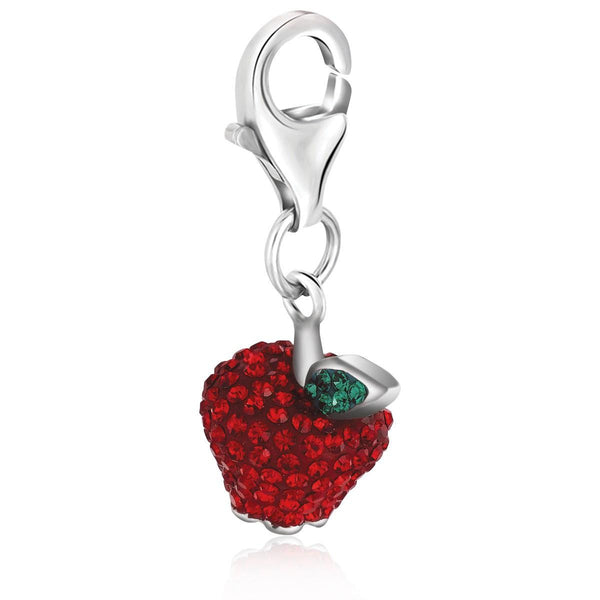 Sterling Silver Red and Green Tone Crystal Accented Charm in Sterling Silver - thia-jewelry.myshopify.com