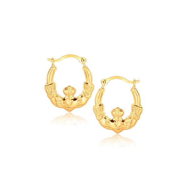 10K Yellow Gold Claddagh Hoop Earrings - thiajewelry.com