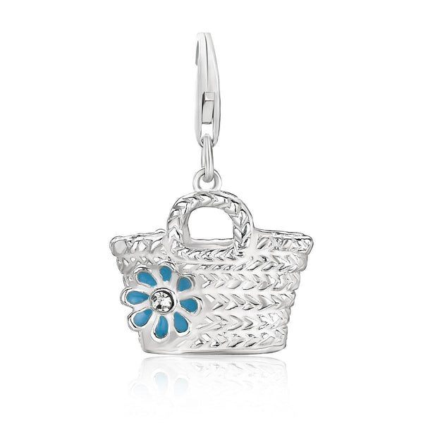 Sterling Silver Basket with Flower Crystal Accented Charm - thiajewelry.com