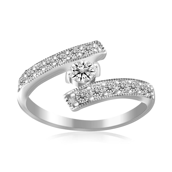 Sterling Silver Rhodium Finished White Cubic Zirconia Overlap Toe Ring - thiajewelry.com