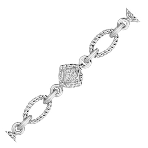 Sterling Silver Cable Oval and Square Link Bracelet with Diamonds (1/4 ct t.w.) - thiajewelry.com