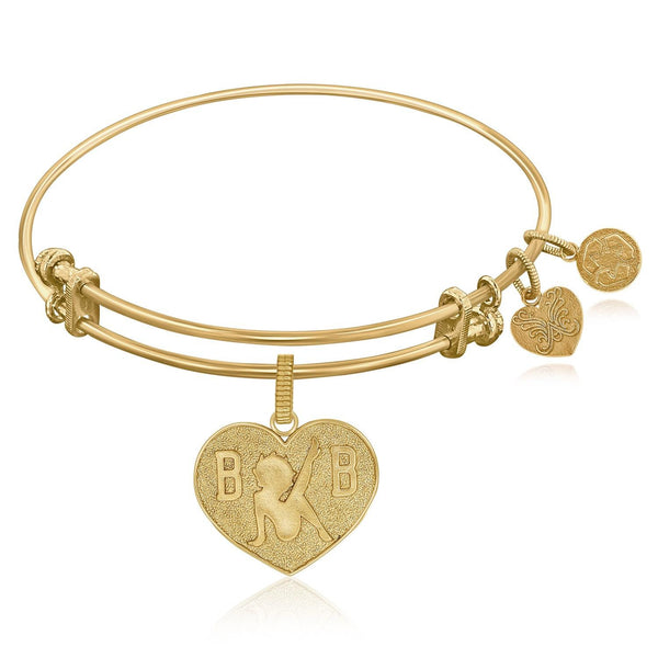 Expandable Bangle in Yellow Tone Brass with Betty Boop Love Symbol - thia-jewelry.myshopify.com