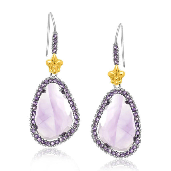 18K Yellow Gold & Sterling Silver Fleur De Lis Style Amethyst Drop Earrings - thiajewelry.com