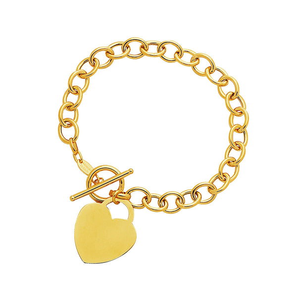 Toggle Bracelet with Heart Charm in 14K Yellow Gold - thiajewelry.com