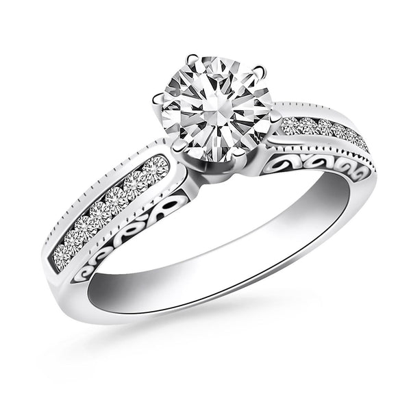 14K White Gold Channel Set Engagement Ring with Engraved Sides - thiajewelry.com