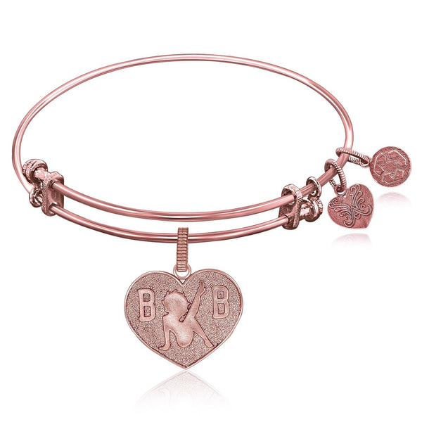 Expandable Bangle in Pink Tone Brass with Betty Boop Love Symbol - thia-jewelry.myshopify.com