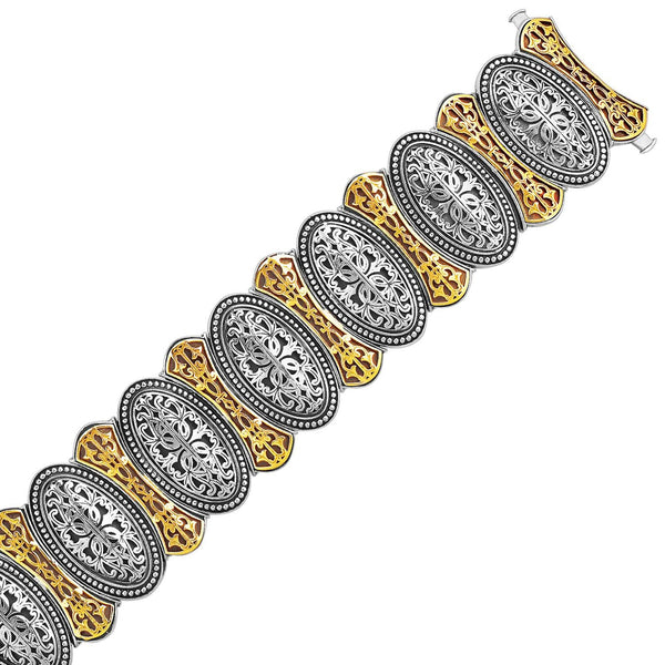 18K Yellow Gold and Sterling Silver Bracelet in an Oval Overlapping Motif - thiajewelry.com