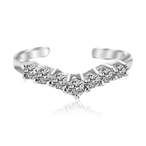 Sterling Silver Rhodium Finished V Shape Toe Ring with Cubic Zirconia Accents - thiajewelry.com