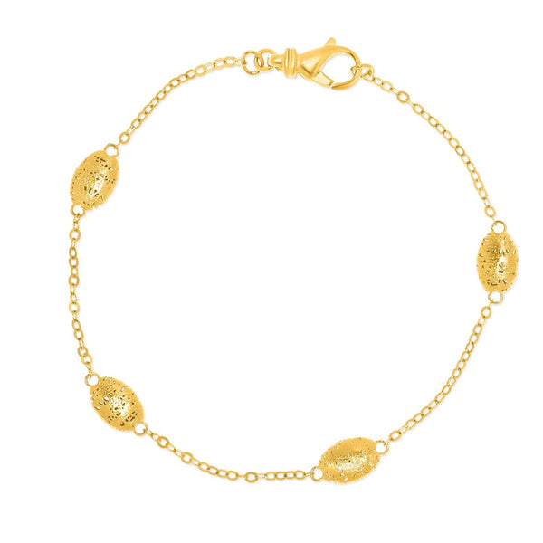 14K Yellow Gold Mesh Barrel Motif Station Bracelet - thiajewelry.com