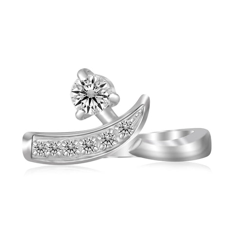 Sterling Silver Rhodium Plated Crossover Cubic Zirconia Accented Toe Ring - thiajewelry.com