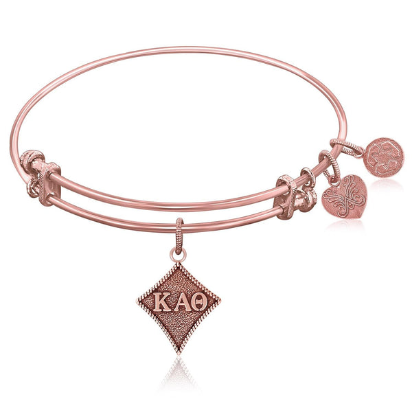 Expandable Bangle in Pink Tone Brass with Kappa Alpha Theta Symbol - thia-jewelry.myshopify.com