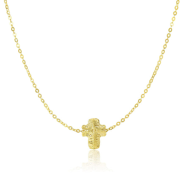 14K Yellow Gold Mesh Puffed Cross Necklace - thiajewelry.com