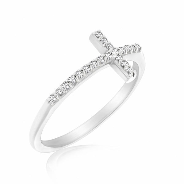 14K White Gold Cross Motif Ring with Diamond Accents (.11ct tw) - thiajewelry.com