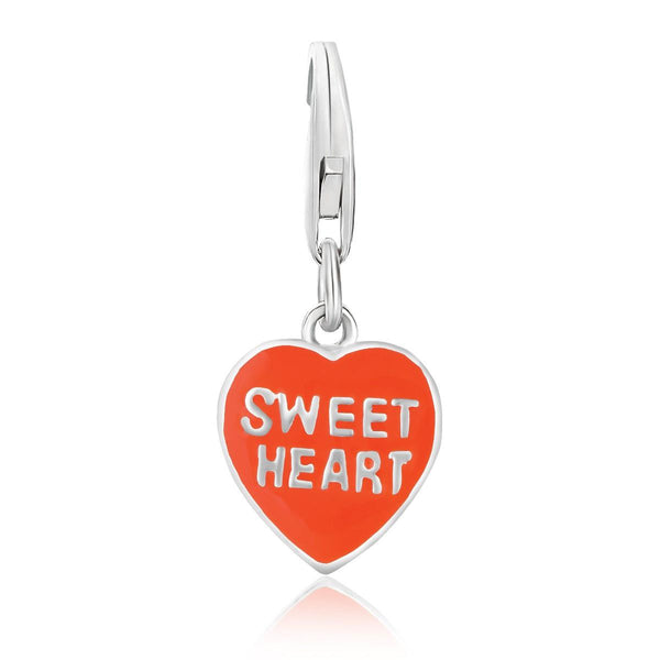 Sterling Silver Reversible Orange Enameled Charm - thiajewelry.com