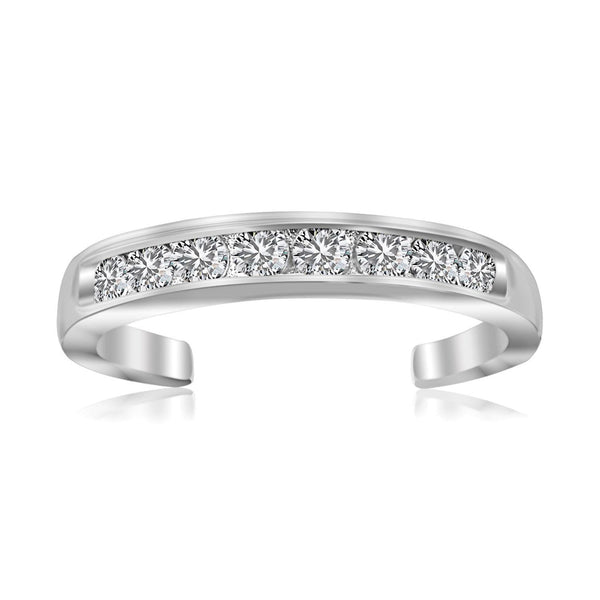 Sterling Silver Rhodium Finished Toe Ring with White Tone Cubic Zirconia Accents - thiajewelry.com