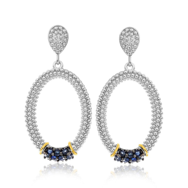 18K Yellow Gold & Sterling Silver Popcorn Oval Blue Sapphire Accented Earrings - thiajewelry.com