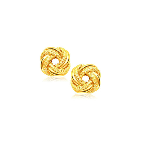 14K Yellow Gold Intertwined Love Knot Stud Earrings - thiajewelry.com