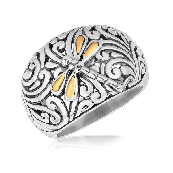 18K Yellow Gold and Sterling Silver Dragonfly Accented Domed Style Ring - thiajewelry.com