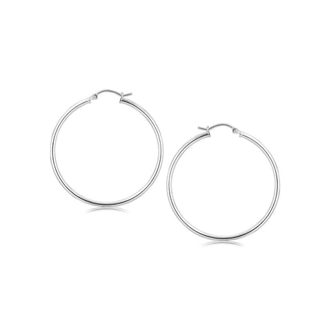 Sterling Silver Rhodium Plated Thin Large Polished Hoop Earrings (40mm) - thiajewelry.com