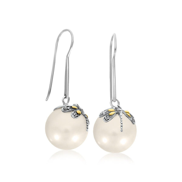 18K Yellow Gold & Sterling Silver Shell Pearl Earrings with Dragonfly Accents - thia-jewelry.myshopify.com