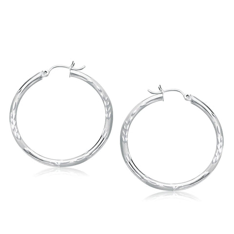 14K White Gold Fancy Diamond Cut Hoop Earrings (35mm Diameter) - thiajewelry.com