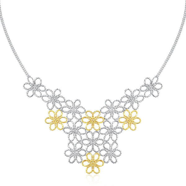 14K Yellow Gold & Sterling Silver Flower Cluster Bead Necklace - thiajewelry.com