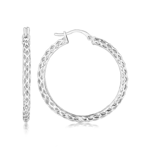 Sterling Silver Rhodium Plated Weave Style Large Hoop Earrings - thiajewelry.com