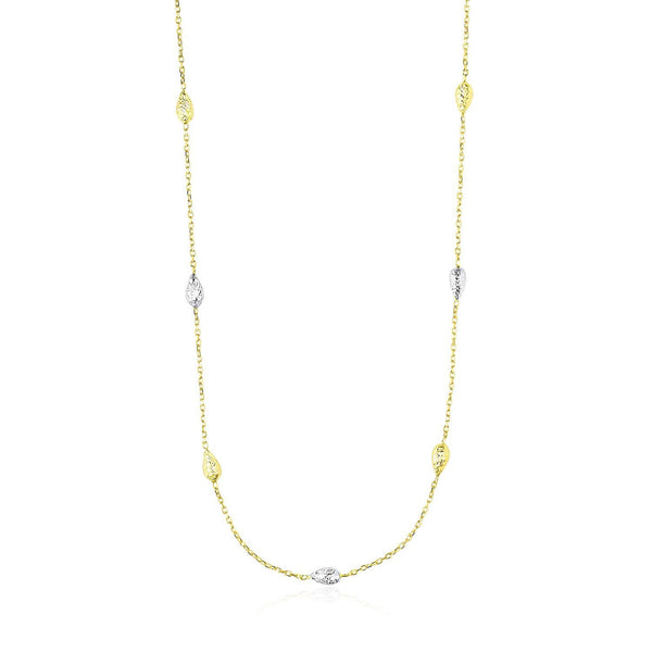 14K Two-Tone Gold Puffed Diamond Cut Teardrop Station Chain Necklace - thiajewelry.com