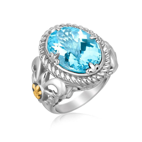 18K Yellow Gold and Sterling Silver Oval Blue Topaz Ring with Fluer De Lis Decor - thiajewelry.com