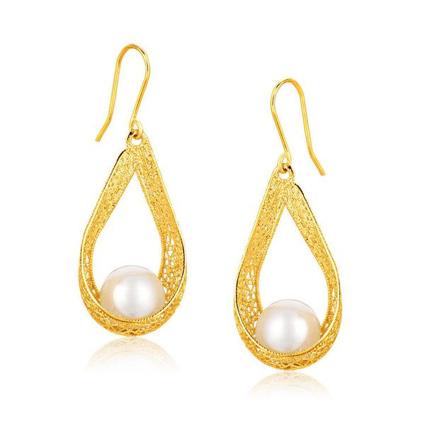Italian Design 14K Yellow Gold Pearl Crochet Teardrop Ribbon Earrings - thiajewelry.com