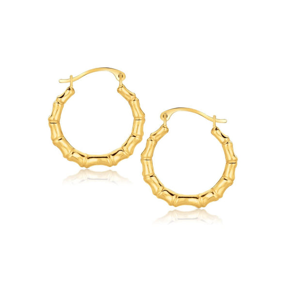 10K Yellow Gold Branch Motif Hoop Earrings - thia-jewelry.myshopify.com