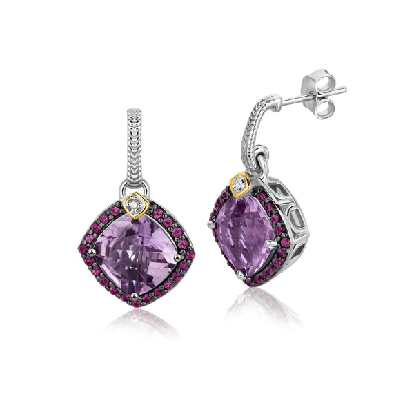18K Yellow Gold and Sterling Silver Purple Tone Gem Drop Earrings (.43 ct. tw.) - thiajewelry.com