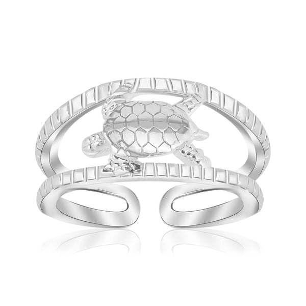 Sterling Silver Rhodium Plated Open Toe Ring with a Turtle Accent - thiajewelry.com