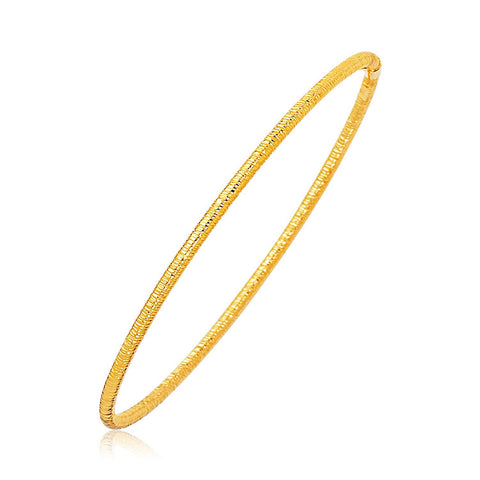 14K Yellow Gold Thin Textured Stackable Bangle - thiajewelry.com
