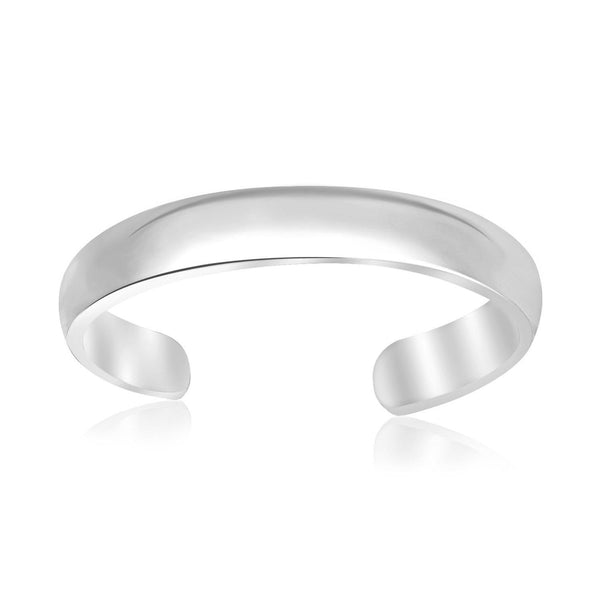 Sterling Silver Rhodium Plated Open Motif Shiny Toe Ring - thiajewelry.com