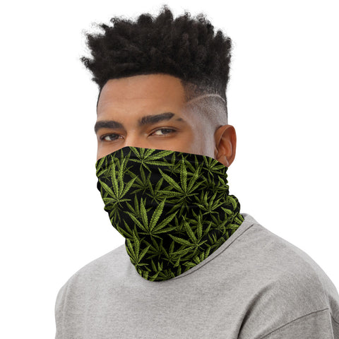 Weed Face Mask - Green Leaves Black Neck Gaiter