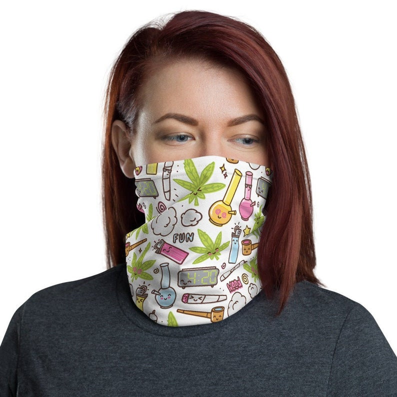 Weed Face Mask - Cute Kawaii Pattern Neck Gaiter