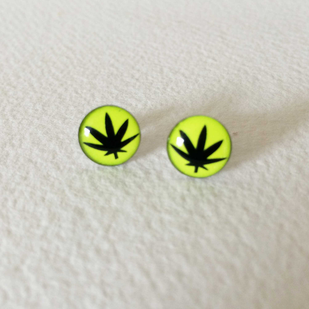 green cannabis earring stud post earring