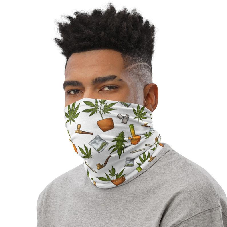 Weed Face Mask - Vintage Weed Etching Neck Gaiter