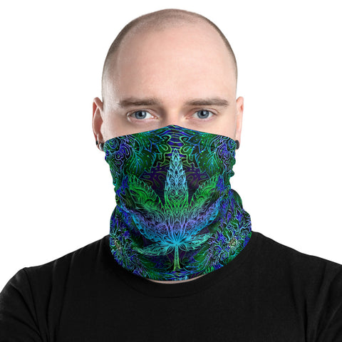 Weed Face Mask - Trippy Blue Mandala Rave 420 Neck Gaiter